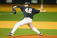 Relief pitcher Nate Jones #42 of the Wake Forest Demon Deacons in action against the Miami Hurricanes at Gene Hooks Field on March 18, 2011 in Winston-Salem, North Carolina.  Photo by Brian Westerholt / Four Seam Images