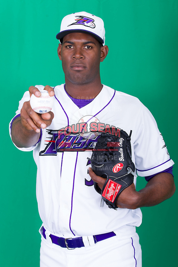 Winston-Salem Dash pitcher Braulio Ortiz (35) poses for photos during Media Day at BB&T Ballpark on April 1, 2014 in Winston-Salem, North Carolina (Brian Westerholt/Four Seam Images)