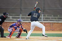 Jonathan Pryor (11) of the Wake Forest Demon Deacons at bat against the Clemson Tigers at David F. Couch Ballpark on March 12, 2016 in Winston-Salem, North Carolina.  The Tigers defeated the Demon Deacons 6-5.  (Brian Westerholt/Four Seam Images)