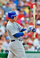 3 September 2012: Chicago Cubs infielder Anthony Rizzo in action against the Washington Nationals at Nationals Park in Washington, DC. The Nationals edged out the visiting Cubs 2-1, in the first game of heir 4-game series. Mandatory Credit: Ed Wolfstein Photo