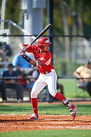 Anthony Ruiz (4) during the Dominican Prospect League Elite Florida Event at Pompano Beach Baseball Park on October 14, 2019 in Pompano beach, Florida.  (Mike Janes/Four Seam Images)