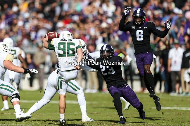 Baylor Bears Connor Martin (96) in action during the game between the Baylor Bears and the TCU Horned Frogs at the Amon G. Carter Stadium in Fort Worth, Texas.