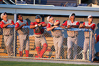 Lowell Spinners (L-R) Miles Head, Felix Sanchez, Jayson Hernandez,  Bryce Brentz, George Lombard, Lazaro Gutierrez during a game vs. the Batavia Muckdogs at Dwyer Stadium in Batavia, New York July 16, 2010.   Batavia defeated Lowell 5-4 with a walk off RBI single.  Photo By Mike Janes/Four Seam Images
