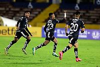 QUITO-ECUADOR, 11-03-2020: Jugadores de Independiente del Valle celebran el gol anotado a Atletico Junior, durante partido de la fase de grupos, grupo A, fecha 2, entre Independiente del Valle (ECU) y Atletico Junior (COL) por la Copa Conmebol Libertadores 2020, en el estadio Olimpico Atahualpa, de la ciudad Quito. / Players of Independiente del Valle celebrate a scored goal to Atletico Junior, during a match of the groups phase, group A, 2nd date, between Independiente del Valle (ECU) and Atletico Junior (COL) for the Conmebol Libertadores Cup 2020, at the Olimpico Atahualpa in Quito.  VizzorImage / Steven Silva / PressSouth / Cont.