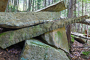 Remnants of granite splitting (plug and feathers) at the abandoned Bemis Granite Quarry along the Sawyer River in Harts Location, New Hampshire. Dr. Samuel Bemis quarried granite from this site, which he owned at the time, during the 1860s to build Notchland, a granite mansion in Hart's Location.