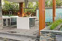 Outdoor KOutdoor Kitchen & Covered Patio home landscaping with dining table, waterfall water feature, ornamental grasses plants, refrigerator, hood, modern design, stairs steps, deck, sink, oven, classy and sophisticated room outside