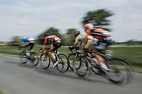 breakaway gorup with Luuc Bugter (NED/Veranda's Willems Crelan), Stijn De Bock (BEL/Cibel - Cebon), Jeroen Meijers (NED/Roompot Nederlandse Loterij) and David Boucher (BEL/Tarteletto Isorex) speeding along<br /> <br /> <br /> 103th Kampioenschap van Vlaanderen 2018 (UCI 1.1)<br /> Koolskamp – Koolskamp (186km)103th Kampioenschap van Vlaanderen 2018 (UCI 1.1)<br /> Koolskamp – Koolskamp (186km)