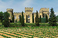 Castellated buildings of Chateau des Fines Roches winery on hilltop. Young vines arrayed on well groomed slope. Trees and shrubs. Chateauneuf du Pape Provence France.