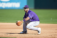 Furman Paladins first baseman John Michael Boswell (8) on defense against the Wake Forest Demon Deacons at BB&T BallPark on March 2, 2019 in Charlotte, North Carolina. The Demon Deacons defeated the Paladins 13-7. (Brian Westerholt/Four Seam Images)