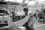New immigrants Muslim to Britain, Asian male dyeing factory worker Blackburn  Lancashire 1980s UK 1983