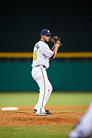 Montgomery Biscuits relief pitcher Jordan Harrison (26) gets ready to deliver a pitch during a game against the Mississippi Braves on April 26, 2017 at Montgomery Riverwalk Stadium in Montgomery, Alabama.  Montgomery defeated Mississippi 5-2.  (Mike Janes/Four Seam Images)