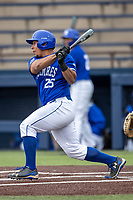 Indiana State Sycamores designated hitter Romero Harris (25) follows through on his swing against the Michigan Wolverines on April 10, 2019 in the NCAA baseball game at Ray Fisher Stadium in Ann Arbor, Michigan. Michigan defeated Indiana State 6-4. (Andrew Woolley/Four Seam Images)