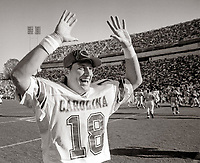 Clemson was hoping to finish its season with a four-game winning streak for the frist time since 1990. On Nov. 19, 1994, Steve Taneyhill would have something to say about that when the Gamecocks traveled to Death Valley. The junor guarterback led South Carolina to a 33-7 win, which caught the eyes of The Carquest Bowl and earned the Gamecocks a trip to Miami to play West Virgnia. <br /> <br /> (Photo by Travis Bell/SIDELINE CAROLINA)<br /> <br /> ©SIDELINE CAROLINA <br /> <br /> Do not copy photograph without permission.