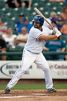 Round Rock Express third baseman Tommy Mendonca #24 at bat during the Pacific Coast League baseball game against the New Orleans Zephyrs on April 30, 2012 at The Dell Diamond in Round Rock, Texas. The Zephyrs defeated the Express 5-3. (Andrew Woolley / Four Seam Images)