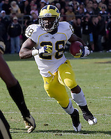 Michigan Running Back Fitzgerald Toussaint. The Michigan Wolverines defeated the Purdue Boilermakers 44-13 on October 6, 2012 at Ross-Ade Stadium in West Lafayette, Indiana.