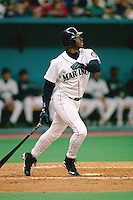 SEATTLE, WA - Ken Griffey Jr. of the Seattle Mariners in action during a game at the Kingdome in Seattle, Washington in 1996. Photo by Brad Mangin