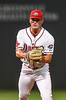 Relief pitcher Brendan Nail (10) of the Greenville Drive shouts after closing out a scoreless inning in Game 4 of the South Atlantic League Championship Series against the Kannapolis Intimidators on Friday, September 15, 2017, at Fluor Field at the West End in Greenville, South Carolina. Greenville won 8-3 for the team's first SAL Championship, winning the series 3-1. (Tom Priddy/Four Seam Images)