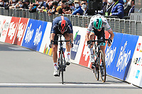 21st April 2021; Imst, Austria;  Cycling Tour des Alpes Stage 3,  Imst in Austria to Naturns/Naturno, Italy; Left, Gianni Moscon Ineos Grenadiers wins at the finish line under pressure from 2nd placed Felix Grossschartner Bora-Hansgrohe in the sprint