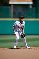 Rochester Red Wings shortstop Engelb Vielma (5) during a game against the Scranton/Wilkes-Barre RailRiders on June 7, 2017 at Frontier Field in Rochester, New York.  Scranton defeated Rochester 5-1.  (Mike Janes/Four Seam Images)