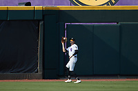 Winston-Salem Dash center fielder Duke Ellis (11) catches a fly ball during the game against the Hickory Crawdads at Truist Stadium on July 10, 2021 in Winston-Salem, North Carolina. (Brian Westerholt/Four Seam Images)
