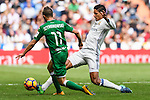 Raphael Varane of Real Madrid fights for the ball with Alexander Szymanowski of Deportivo Leganes during their La Liga match between Real Madrid and Deportivo Leganes at the Estadio Santiago Bernabéu on 06 November 2016 in Madrid, Spain. Photo by Diego Gonzalez Souto / Power Sport Images