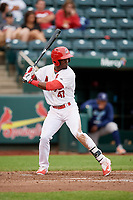 Springfield Cardinals right fielder Jose Adolis Garcia (47) at bat during a game against the Corpus Christi Hooks on May 31, 2017 at Hammons Field in Springfield, Missouri.  Springfield defeated Corpus Christi 5-4.  (Mike Janes/Four Seam Images)