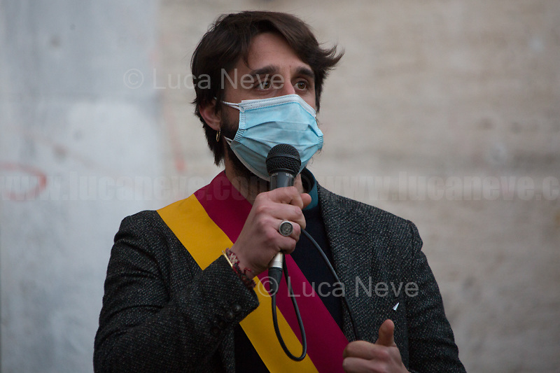 Amedeo Ciaccheri, President of the VIII Municipality of Rome.<br /> <br /> Rome, Italy. 24th Mar, 2021. Today, Citizens of Rome, Antifascists, various organizations, Institutions and the President of the Italian Republic, Sergio Mattarella, pay tribute to the victims of the Fosse Ardeatine massacre in which, 77 years ago, on the 24th March 1944, 335 people were assassinated by the nazi-fascist occupation troupes in Rome. It was one of the most atrocious massacre perpetrated during World War II for retaliation against the Resistance and the Civilians.    <br /> <br /> Footnotes & Links:<br /> (Source, Treccani.it ITA) http://bit.do/fPZXL <br /> (Source, Jewishvirtuallibrary.org ENG) http://bit.do/fPZXu<br /> (Source, Wikipedia.org ENG) http://bit.do/fPZXW <br /> Today's Events: https://www.facebook.com/events/4526526500707783/ & https://www.facebook.com/events/1096587897511737/