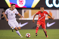 Action photo during the match Peru vs Colombia, Corresponding to the quarterfinals of the America Cup 2016 Centenary at Metlife Stadium.<br /> <br /> Foto de accion durante el partido Peru vs Colombia, Correspondiente a los Cuartos de Final de la Copa America Centenario 2016 en el Estadio Metlife, en la foto: Daniel Torres y Christian Cueva<br /> <br /> <br /> 17/06/2016/MEXSPORT/Osvaldo Aguilar.