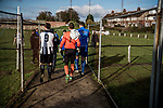 Harwich & Parkeston 2 Barnston 0, 11/11/2017. Royal Oak Ground, Andreas Carter Essex & Suffolk Border League Premier Division. Harwich & Parkeston reached the final of the Amateur Cup in 1953 at Wembley Stadium and played in front of a crowd of 100,000. <br /> Players make their way onto the pitch. Photo by Simon Gill.