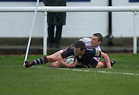 Patrick Kelly of London Scottish Football Club scores a try during the Greene King IPA Championship match between London Scottish Football Club and Rotherham Titans at Richmond Athletic Ground, Richmond, United Kingdom on 1 January 2017. Photo by Alan  Stanford.