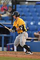 Bradenton Marauders third baseman Wyatt Mathisen (15) at bat during a game against the Dunedin Blue Jays on April 14, 2015 at Florida Auto Exchange Stadium in Dunedin, Florida.  Bradenton defeated Dunedin 7-1.  (Mike Janes/Four Seam Images)