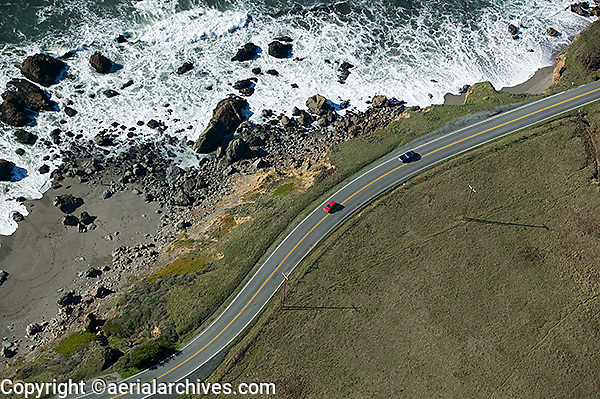 aerial photograph Highway One, Sonoma County, California