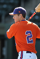 Infielder Jason Stolz (2) of the Clemson Tigers prior to a game against the Michigan State Spartans Saturday, Feb. 20, 2010, at Fluor Field at the West End in Greenville, S.C. Photo by: Tom Priddy/Four Seam Images