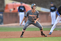 Tennessee Volunteers third baseman Nick Senzel (13) leads off second during a game against the UNC Asheville Bulldogs at McCormick Field on March 15, 2016 in Asheville, North Carolina. The Volunteers defeated the Bull Dogs 7-3. (Tony Farlow/Four Seam Images)