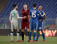 Calcio, Serie A: AS Roma - Sassuolo, Roma, stadio Olimpico, 30 dicembre 2017.<br /> Roma's Edin Dzeko greet Sassuolo's players at the end of the Italian Serie A football match between AS Roma and Sassuolo at Rome's Olympic stadium, 30 December 2017.<br /> Sassuolo and Roma drawns 1-1.<br /> UPDATE IMAGES PRESS/Isabella Bonotto
