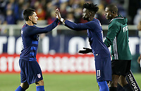 Cary, N.C. - Tuesday March 27, 2018:  Marco Delgado, Timothy Weah during an International friendly game between the men's national teams of the United States (USA) and Paraguay (PAR) at Sahlen's Stadium at WakeMed Soccer Park.
