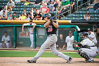 Matt McBride (20) of the Albuquerque Isotopes at bat against the Salt Lake Bees in Pacific Coast League action at Smith's Ballpark on June 8, 2015 in Salt Lake City, Utah.  (Stephen Smith/Four Seam Images)\