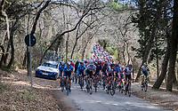 Jan Bakelants (BEL/Intermarché - Wanty - Gobert) going cyclocross while overtaking the peloton<br /> <br /> Stage 5 from Castellalto to Castelfidardo (205km)<br /> <br /> 56th Tirreno-Adriatico 2021 (2.UWT) <br /> <br /> ©kramon