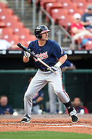 Gwinnett Braves outfielder Derrick Mitchell (15) looks to bunt during a game against the Buffalo Bisons on May 13, 2014 at Coca-Cola Field in Buffalo, New  York.  Gwinnett defeated Buffalo 3-2.  (Mike Janes/Four Seam Images)