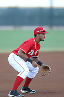 Leandro Santana (29) of the AZL Reds in the field at third base during a game against the AZL Brewers at Cincinnati Reds Spring Training Complex on July 5, 2015 in Goodyear, Arizona. Reds defeated the Brewers, 9-4. (Larry Goren/Four Seam Images)