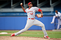 Greeneville Reds relief pitcher Moises Nova (54) delivers a pitch during the first game of a doubleheader against the Princeton Rays on July 25, 2018 at Hunnicutt Field in Princeton, West Virginia.  Princeton defeated Greeneville 6-4.  (Mike Janes/Four Seam Images)