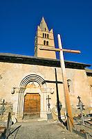 Church of Ste. Cecile, 14th Century, near the village of Ceillac.  Queyras, Hautes Alpes, Provence, France.