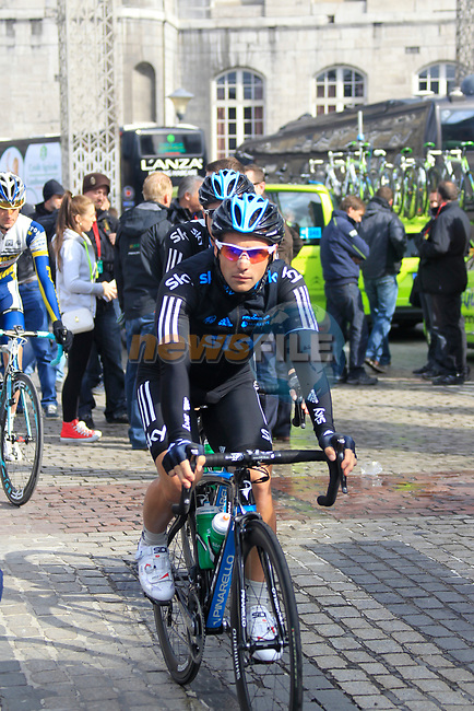 Davide Appollonio and Salvatore Puccio (ITA) Sky Procycling make their way to sign on before the start of the 98th edition of Liege-Bastogne-Liege outside the Palais des Princes-Eveques, running 257.5km from Liege to Ans, Belgium. 22nd April 2012.  <br /> (Photo by Eoin Clarke/NEWSFILE).