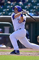 Chris Valaika (4) of the Iowa Cubs  swings at pitch against the New Orleans Zephyrs at Principal Park on April 23, 2015 in Des Moines, Iowa.  The Zephyrs won 9-2.  (Dennis Hubbard/Four Seam Images)