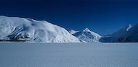 Portage Glacier and snow covered lake, Kenai Peninsula Borough, Alaska, USA
