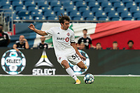 FOXBOROUGH, MA - JULY 23: Kobe Franklin #58 of Toronto FC II passes the ball during a game between Toronto FC II and New England Revolution II at Gillette Stadium on July 23, 2021 in Foxborough, Massachusetts.