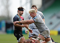 20th February 2021; Twickenham Stoop, London, England; English Premiership Rugby, Harlequins versus Sale Sharks; Danny Care of Harlequins physical argument with Jean-Luc Du Preez of Sale Sharks