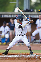 Nicholas Lopez (3) of the High Point-Thomasville HiToms at bat against the Asheboro Copperheads at Finch Field on June 12, 2015 in Thomasville, North Carolina.  The HiToms defeated the Copperheads 12-3. (Brian Westerholt/Four Seam Images)