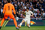 Alvaro Odriozola Arzallus of Real Madrid in action during the La Liga 2018-19 match between Real Madrid and Real Valladolid at Estadio Santiago Bernabeu on November 03 2018 in Madrid, Spain. Photo by Diego Souto / Power Sport Images