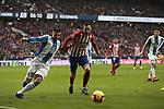 Atletico de Madrid's Nikola Kalinic and RCD Espanyol's David Lopez during La Liga match between Atletico de Madrid and RCD Espanyol at Wanda Metropolitano Stadium in Madrid, Spain. December 22, 2018. (ALTERPHOTOS/A. Perez Meca)